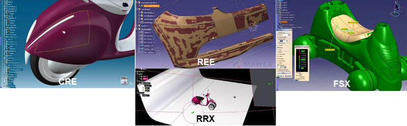 CATIA V5 PLM Express-CAT3DX CRE概念產品, REE逆向工程, FSX自由造型, RRX2動態渲染